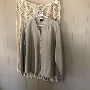 Eileen Fisher quilted tan button down jacket sz xl